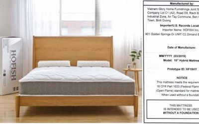 HOFISH Recalls Mattresses Due to Violation of Federal Flammability Standard